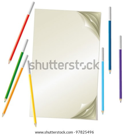 stack of sheets and bright pastels - stock vector