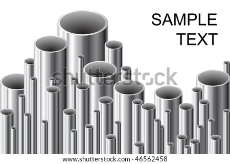 Stack of steel tubing (vector illustration). - stock vector
