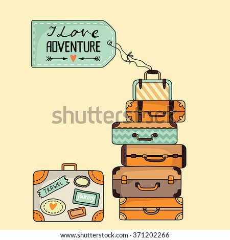 Stack of suitcases. Vector illustration - stock vector