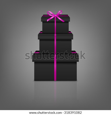 Stack of three realistic black gift boxes with pink ribbon and bow on gray background with reflection. Vector EPS10 illustration.  - stock vector