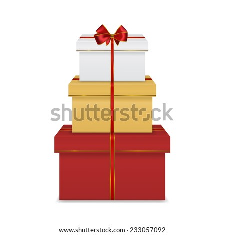 Stack of three realistic colorful red white and gold gift boxes with red ribbon and bow isolated on white background
