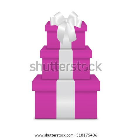 Stack of three realistic pink gift boxes with white ribbon and bow isolated on white background. Vector EPS10 illustration.  - stock vector