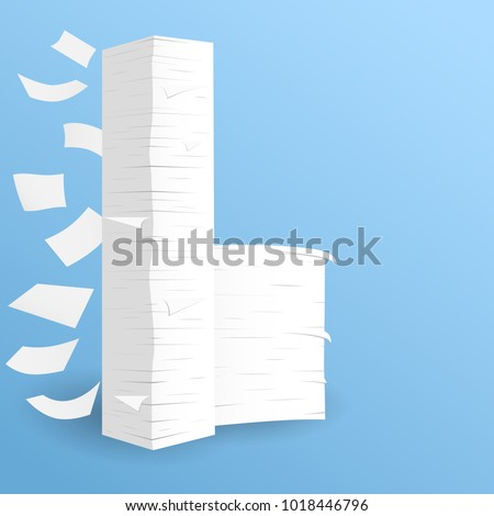 Stack of white sheets paper flying in blue room on floor