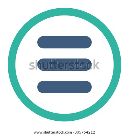 Stack vector icon. This rounded flat symbol is drawn with cobalt and cyan colors on a white background.