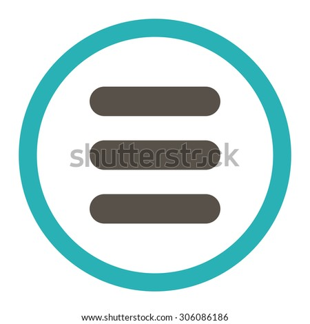 Stack vector icon. This rounded flat symbol is drawn with grey and cyan colors on a white background.