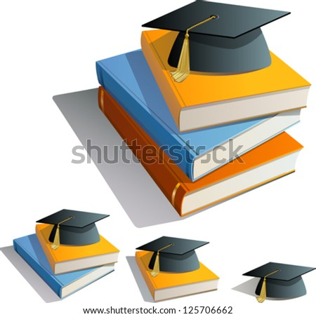 Stacked Books and Graduation Cap - stock vector