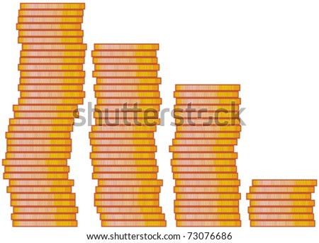 stacked coins - stock vector