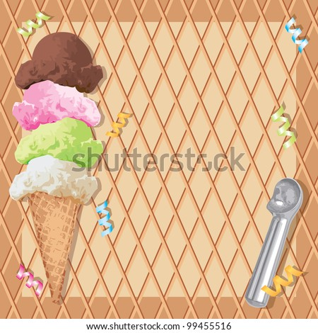 Stacked Ice cream cone with different flavors on a waffle cone background and ice cream scoop and curly ribbons.  Perfect for an ice cream birthday party Invitation!