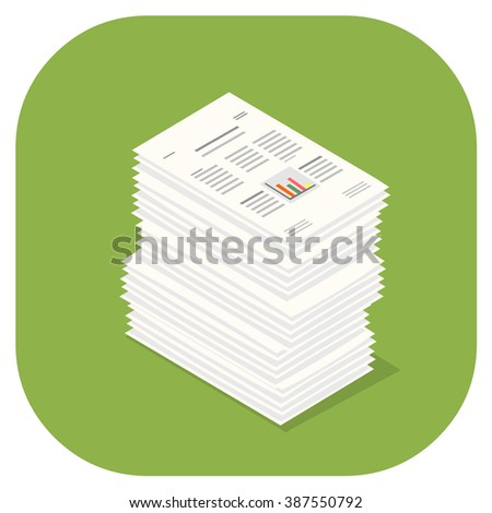 Stacked pile of financial documents. A vector illustration icon of stacked Paper Documents. Flat icon paperwork concept. - stock vector