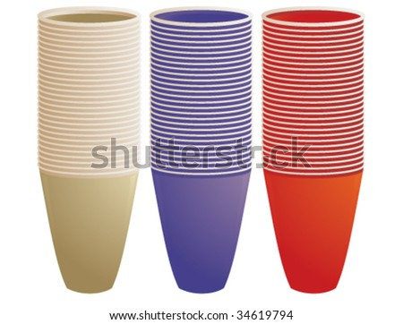 Stacked plastic cups - vector