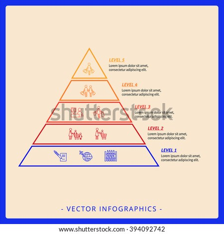 Stacked Pyramid Chart Template 1 - stock vector
