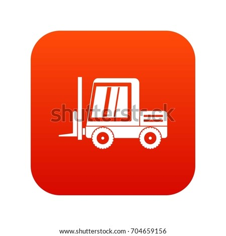 Stacker loader icon digital red for any design isolated on white vector illustration