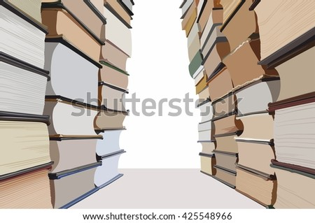 Stacks of books making a corridor with white copyspace in the end. Vector illustration.