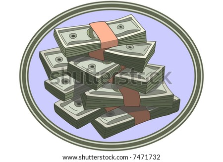 stacks of cash inside oval shape - suitable for logo
