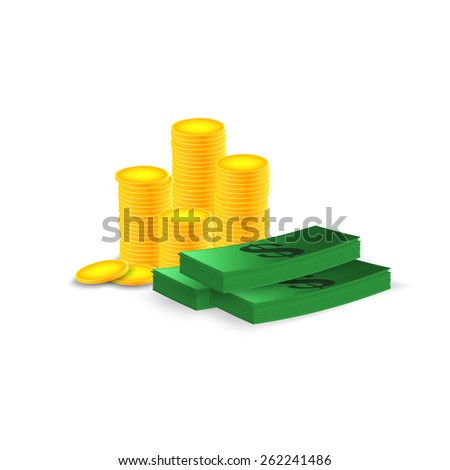 Stacks of coins,a bundle of money. Vector illustration - stock vector