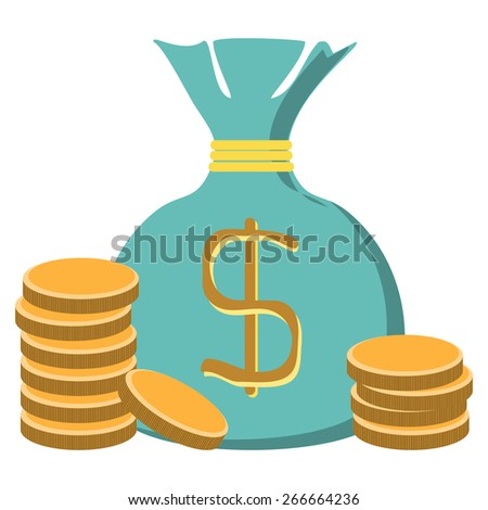 Stacks of coins and money bag - stock vector