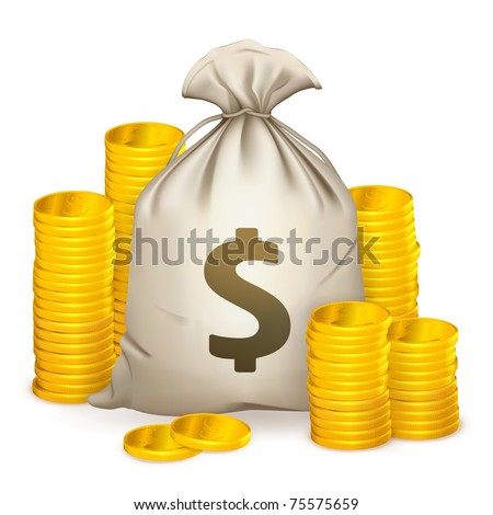 Stacks of coins and money bag, 10eps - stock vector