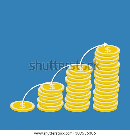 Stacks of coins. The concept of profit growth. Vector illustration. - stock vector