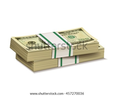 Stacks of  dollar bill  isolated on a white background. - stock vector