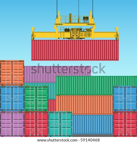 Stacks of Freight Containers at the Docks with Crane - stock vector