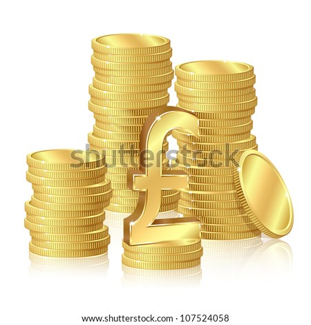 Stacks of gold coins and pound sterling sign
