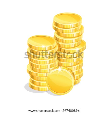 Stacks of gold coins on a white background. Eps 10. - stock vector