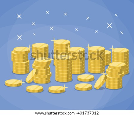 Stacks of gold coins.  The concept of profit. vector illustration in flat design on blue background - stock vector