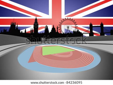 stadium and London skyline - vector - stock vector