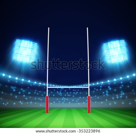 stadium with lights and rugby goal eps 10 - stock vector