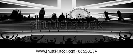 stadium with London skyline - banner - vector - stock vector