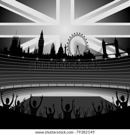 stadium with the London skyline on the horizon - stock vector