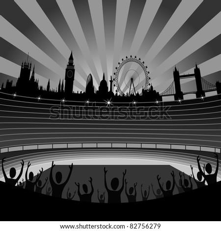stadium with the London skyline on the horizon - vector - stock vector