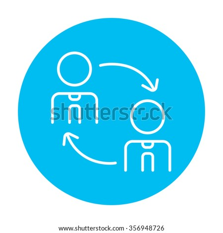 Staff turnover line icon for web, mobile and infographics. Vector white icon on the light blue circle isolated on white background. - stock vector