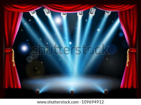 Stage background illustration with blue stage spot lights pointing to the centre of the stage and red curtain frame - stock vector