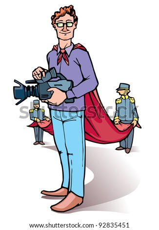 Stage director is standing with the camera. - stock vector