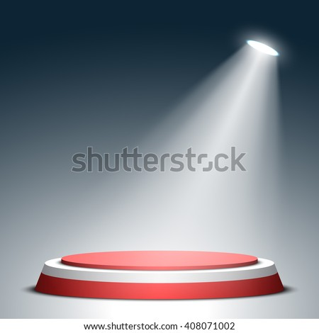 Stage for awards ceremony. Red and white round podium. Pedestal. Scene. Spotlight. 3D. Vector illustration. - stock vector