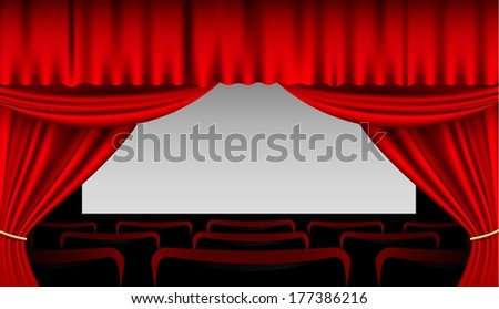 Stage interior with red curtains and seats - stock vector