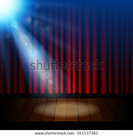 Closed curtains intermission - Red Curtains Theater Scene Show Closed Stock Photo