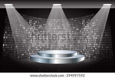 Stage Lighting black Background with Spot Light Effects, vector illustration. Abstract light lamps background for Technology computer graphic website internet business. screen,movie,cinema - stock vector