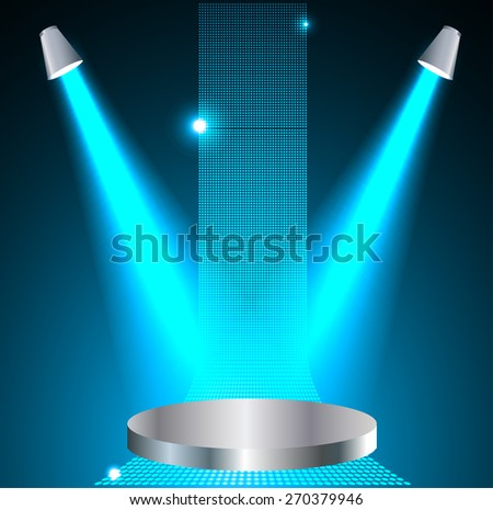 Stage Lighting blue Background with Spot Light Effects - vector illustration. Abstract light lamps background for Technology computer graphic website internet and business