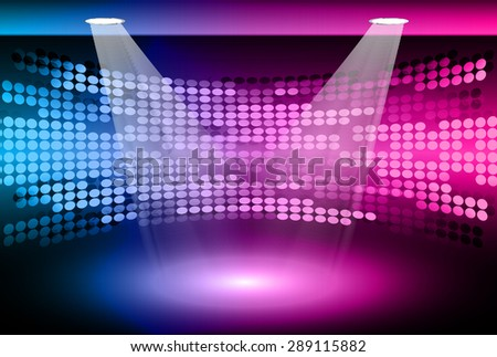 Stage Lighting blue purple pink Background with Spot Light Effects, vector illustration. Abstract light lamps background for Technology computer graphic website internet business. screen, movie,cinema - stock vector