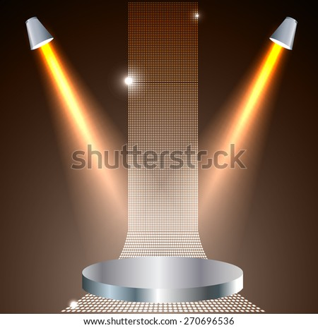 Stage Lighting brown Background with Spot Light Effects - vector illustration. Abstract light lamps background for Technology computer graphic website internet and business - stock vector