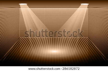 Stage Lighting brown Background with Spot Light Effects, vector illustration. Abstract light lamps background for Technology computer graphic website internet business. screen, movie, cinema, scene - stock vector