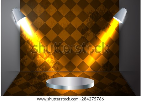Stage Lighting orange Background with Spot Light Effects. old wall. Parquet floor. table, schedule, chart - stock vector
