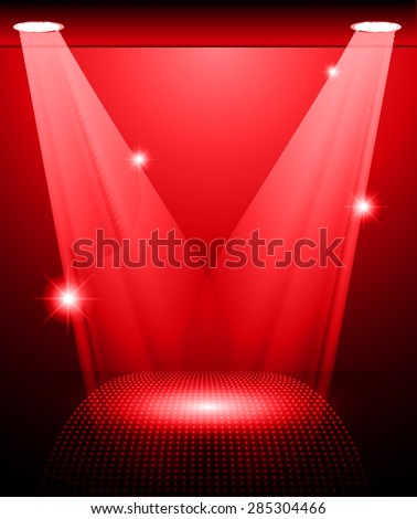Stage Lighting red Background with Spot Light Effects, vector illustration. Abstract light lamps background for Technology computer graphic website internet and business.  - stock vector