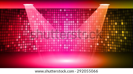 Stage Lighting red pink orange Background with Spot Light Effects, vector illustration. Abstract light lamps background for Technology computer graphic website internet business. screen, movie,cinema - stock vector