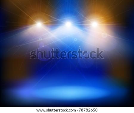Stage lights. Vector illustration. - stock vector