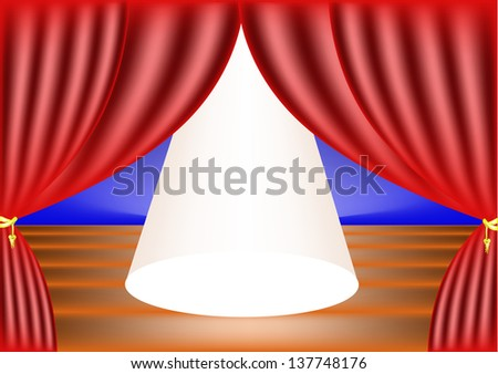 Stage lights with room for an added object,vector - stock vector