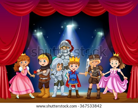 Stage play with children in costumes illustration - stock vector