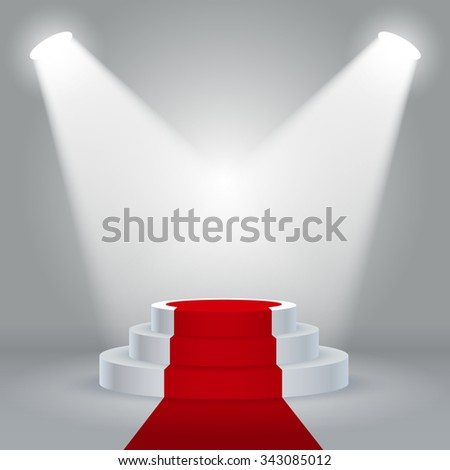 Stage podium with lighting, Stage Podium Scene with Red Carpet for Award Ceremony on White Background, Vector illustration - stock vector